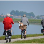 old age pensioners cycling to financial advisors office in Dublin. They want a retirement plan